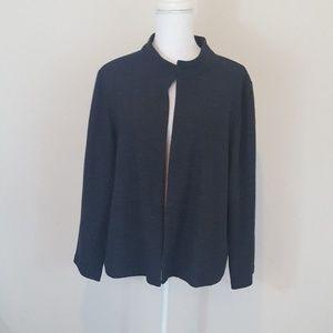 Eileen Fisher Black 100% Wool Career Jacket Sz L